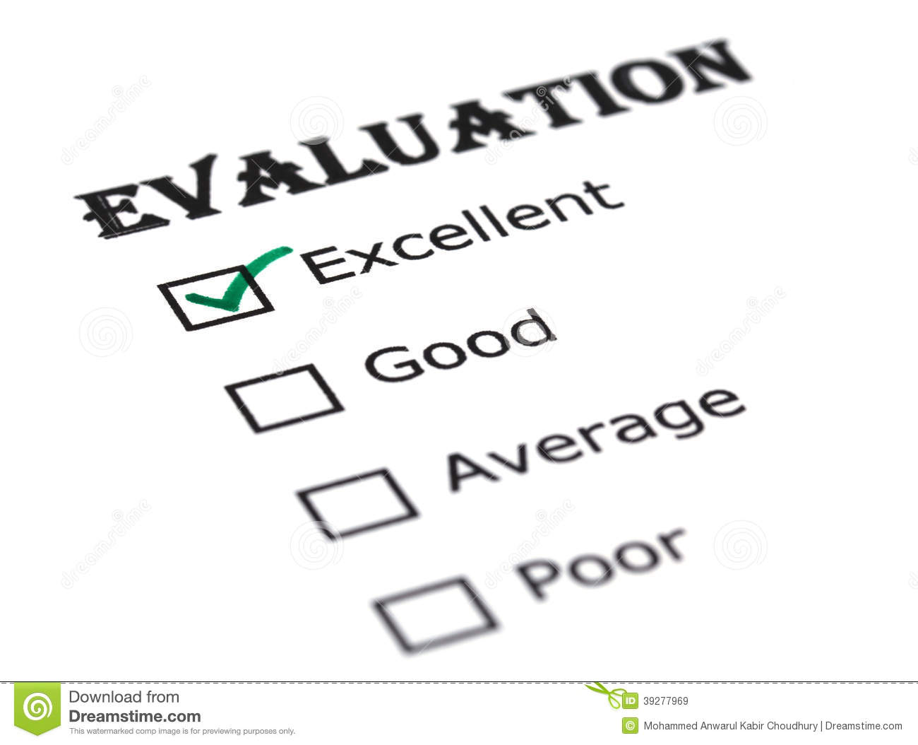 Evaluation paper stock image. Image of chart, evaluation