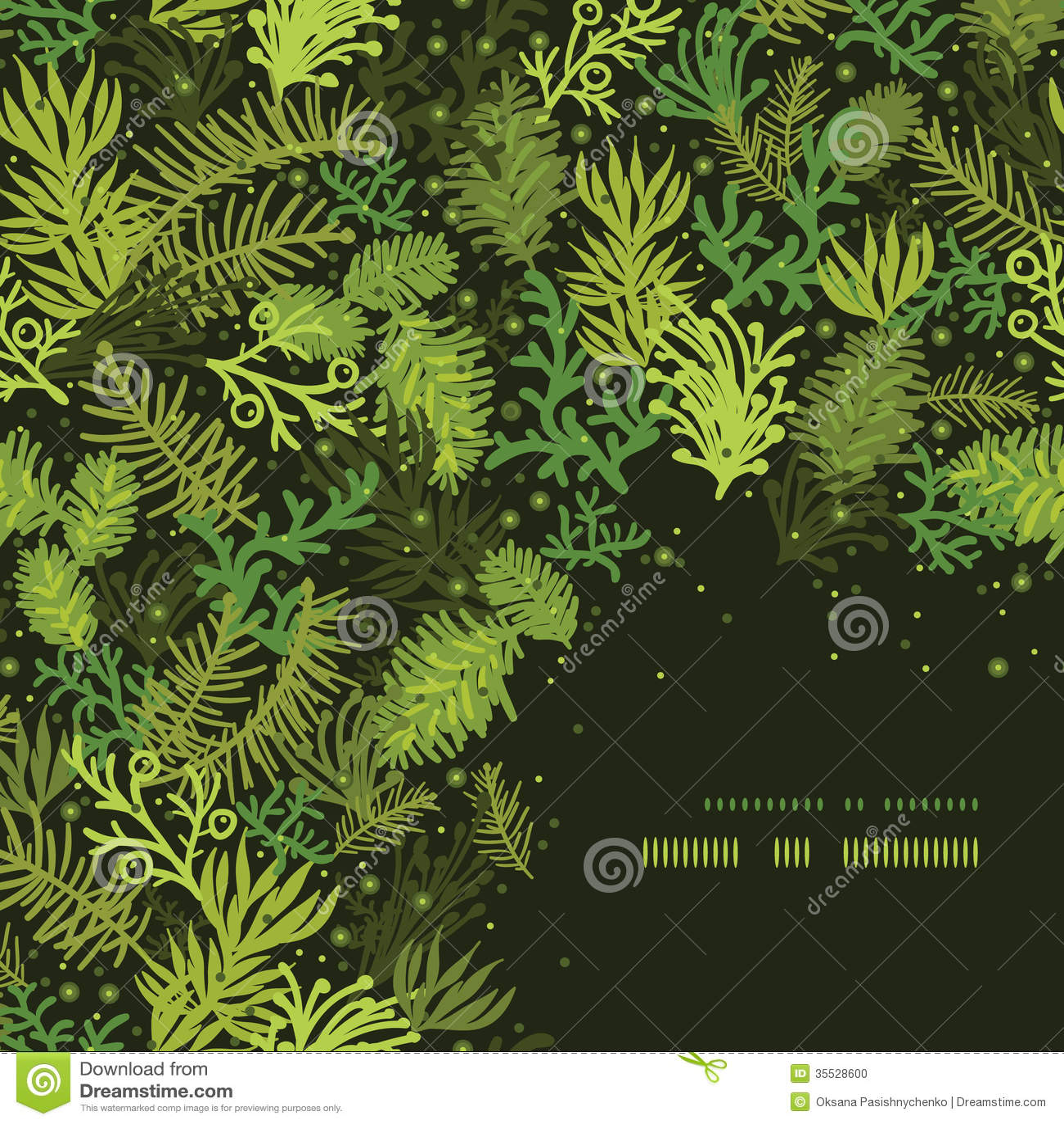 Evergreen Christmas Tree Corner Frame Pattern Stock Photo