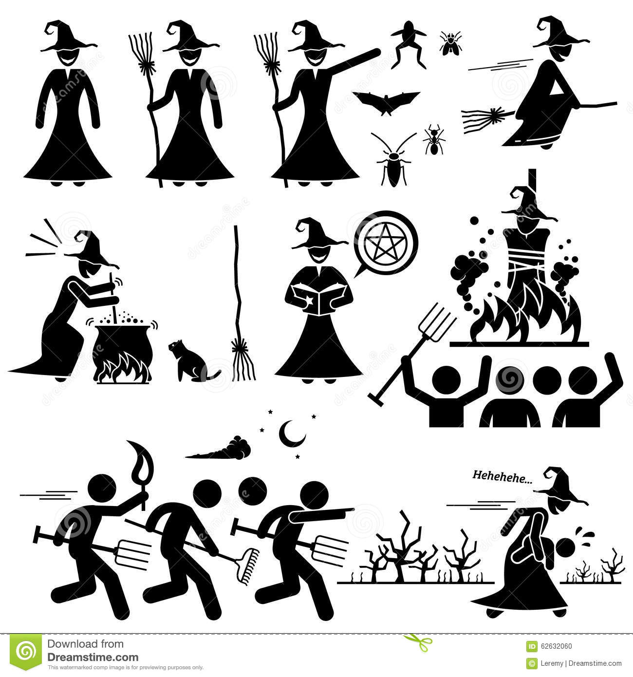 Evil Witch Hunt Witchcraft Black Magic Clipart Stock