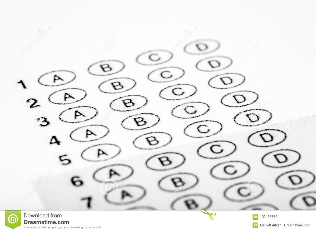 Exam Bubbles Form stock photo. Image of bubble, evaluation