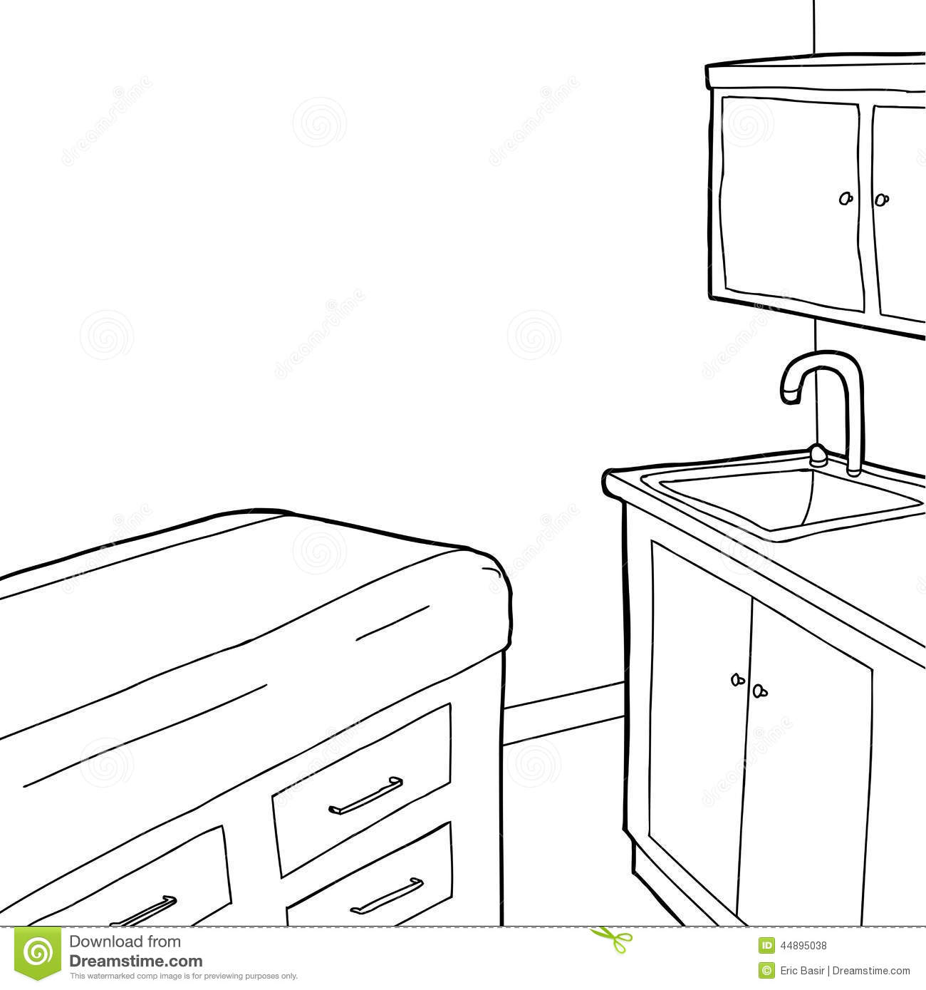 Examination Room Outline stock vector. Image of vector