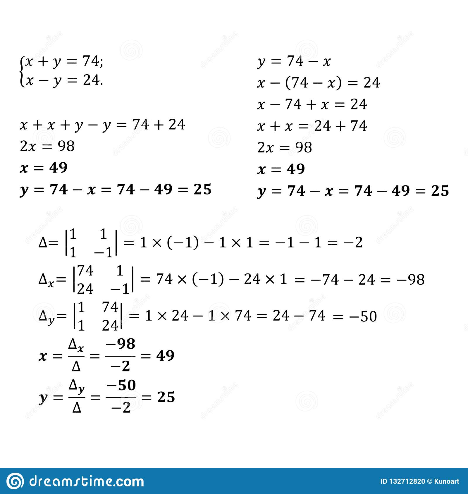 Solving Two Variable Equations Using Matrices