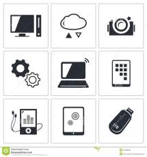 Exchange Of Information Technology Icons Set Stock