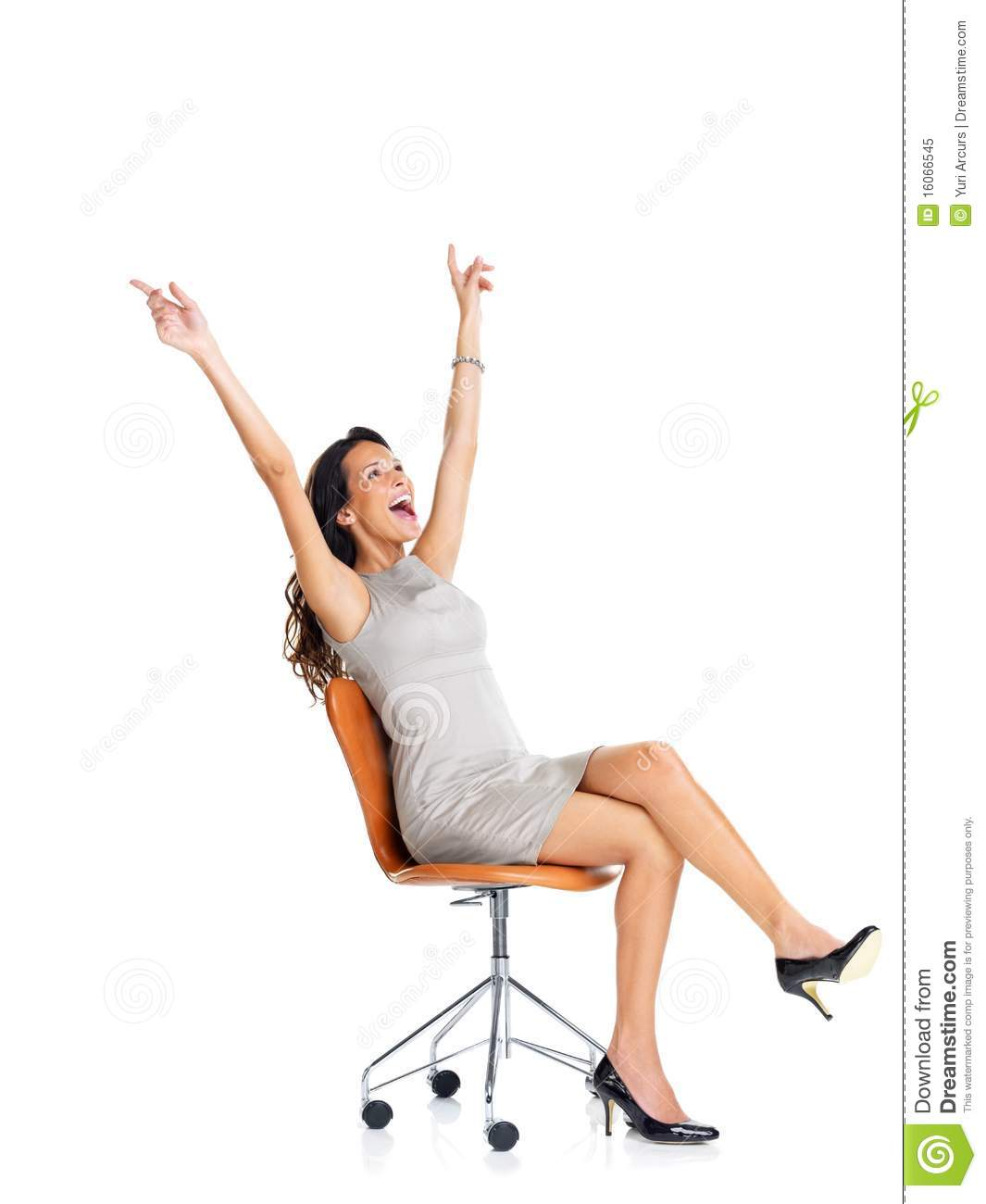 woman sitting in chair table with chairs inside royalty free stock photo excited young on