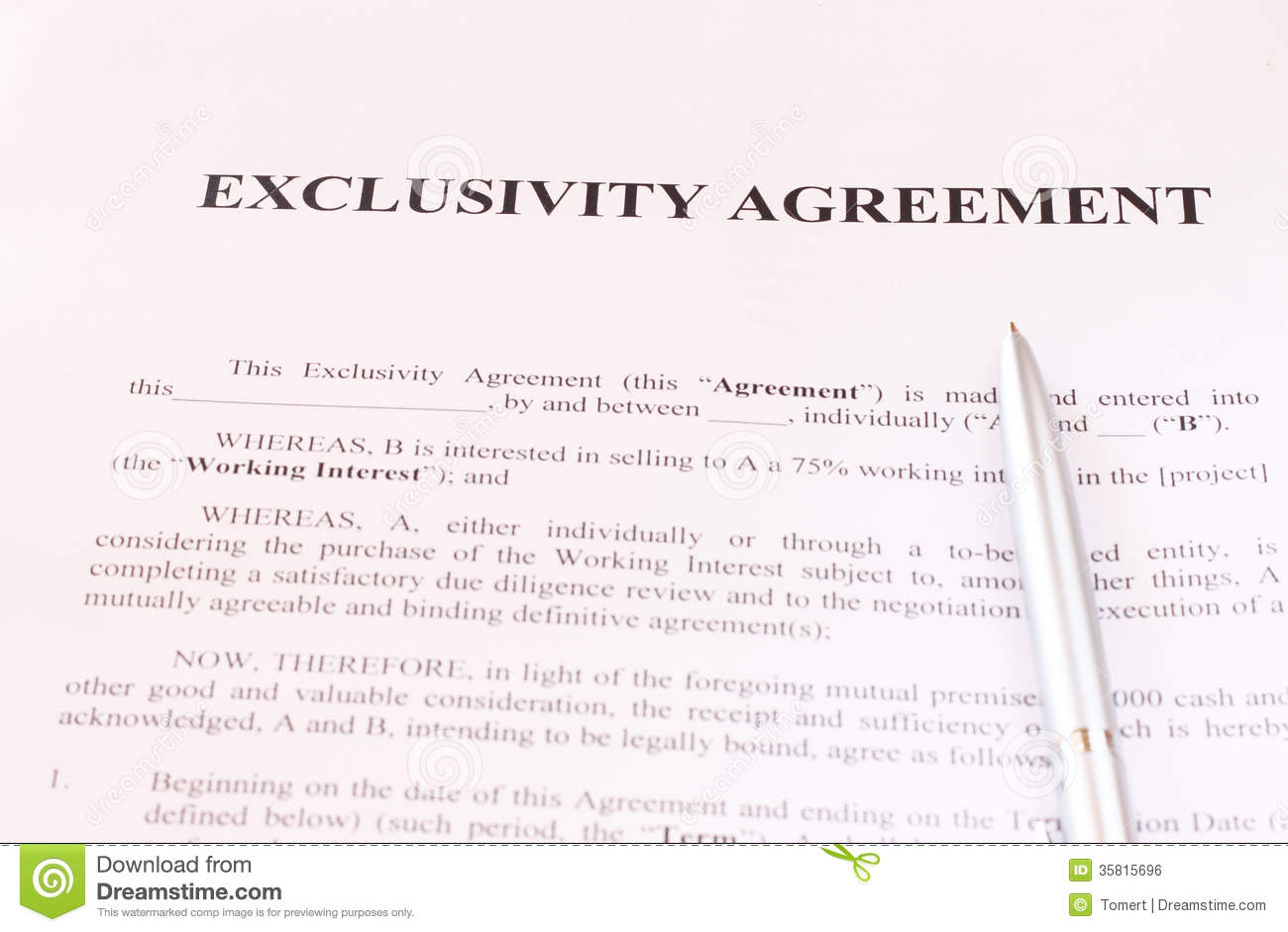 Exclusivity Agreement Form With Pen Stock Photo Image