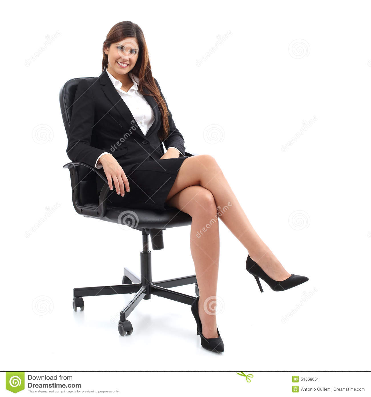 woman sitting in chair blue leather swivel executive business on a stock image