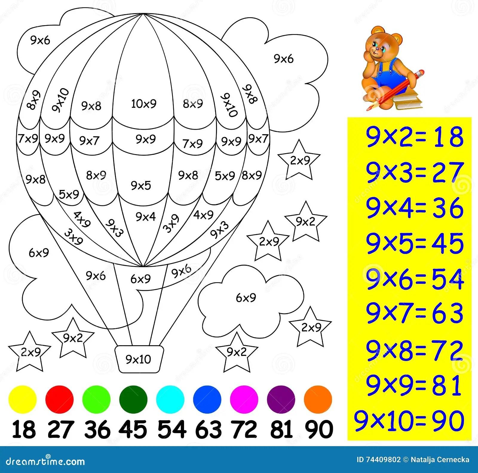 Exercice Pour Des Enfants Avec La Multiplication Par Neuf