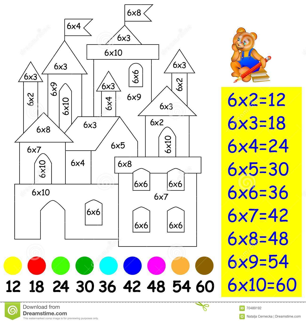 Exercise For Children With Multiplication By Six