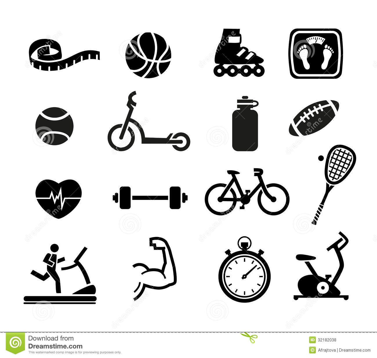Exercise And Fitness Icons Royalty Free Stock Photos