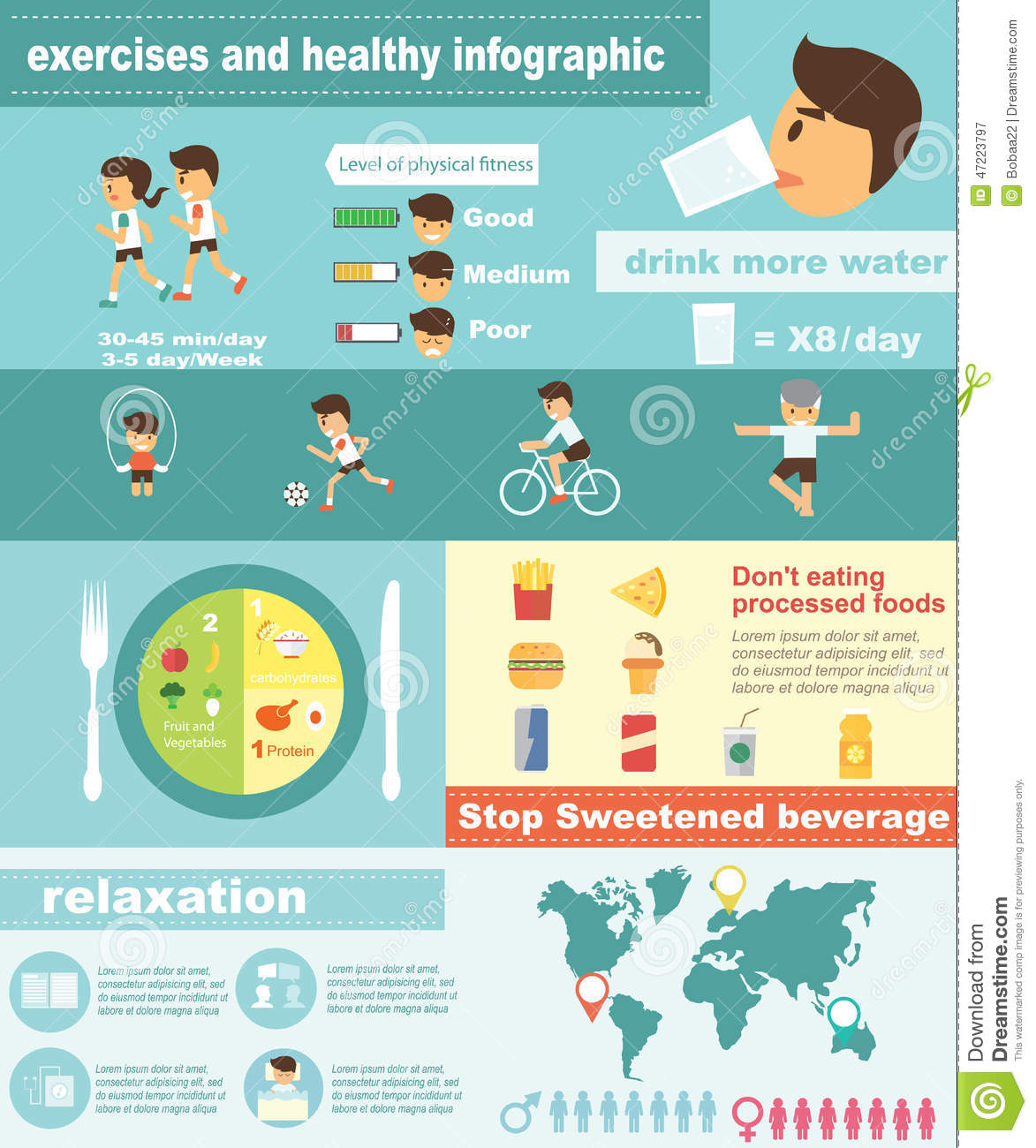 Exercises Fitness And Healthy Lifestyle Infographic Stock