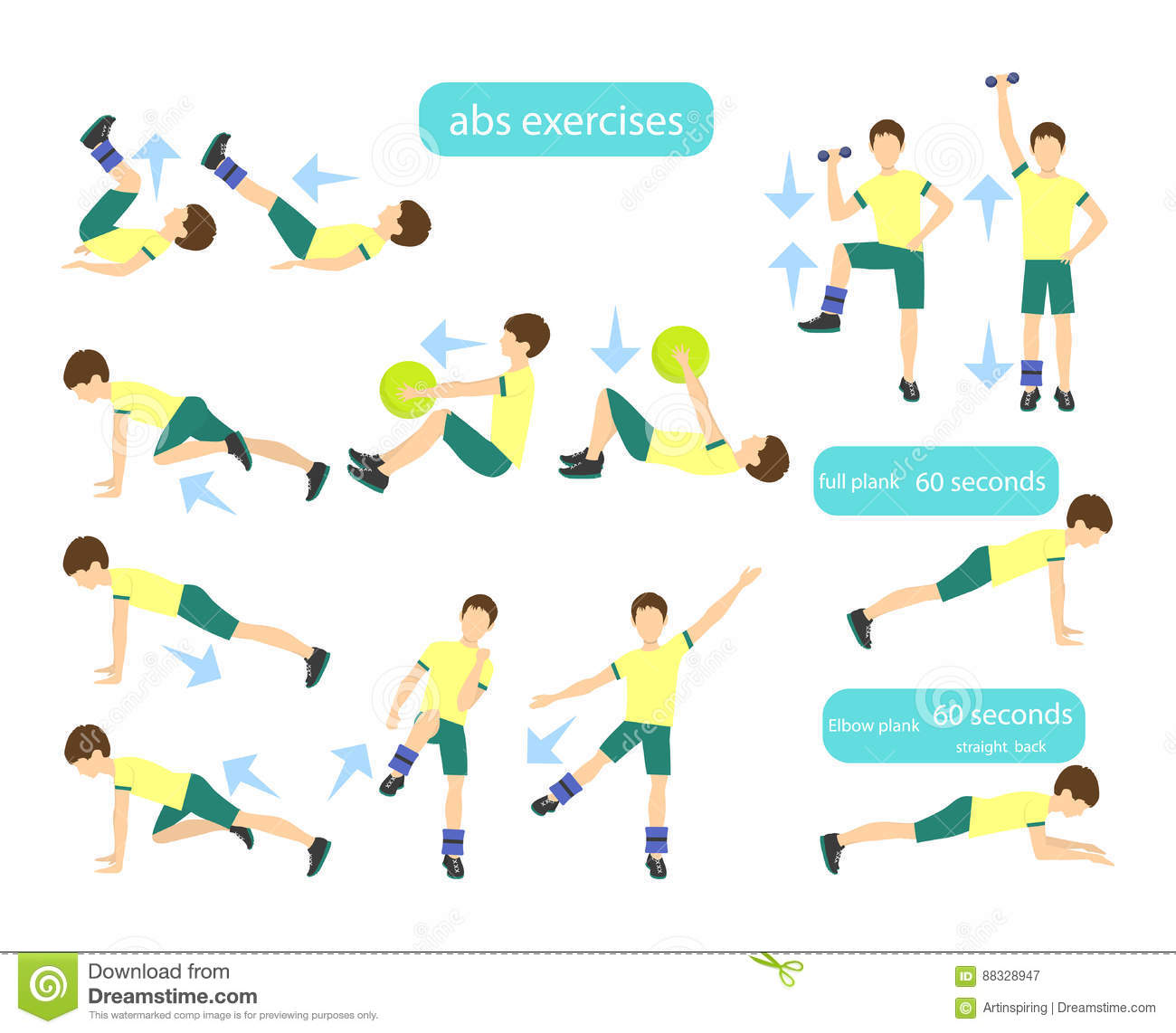 Exercises For Kids Set Stock Vector Illustration Of