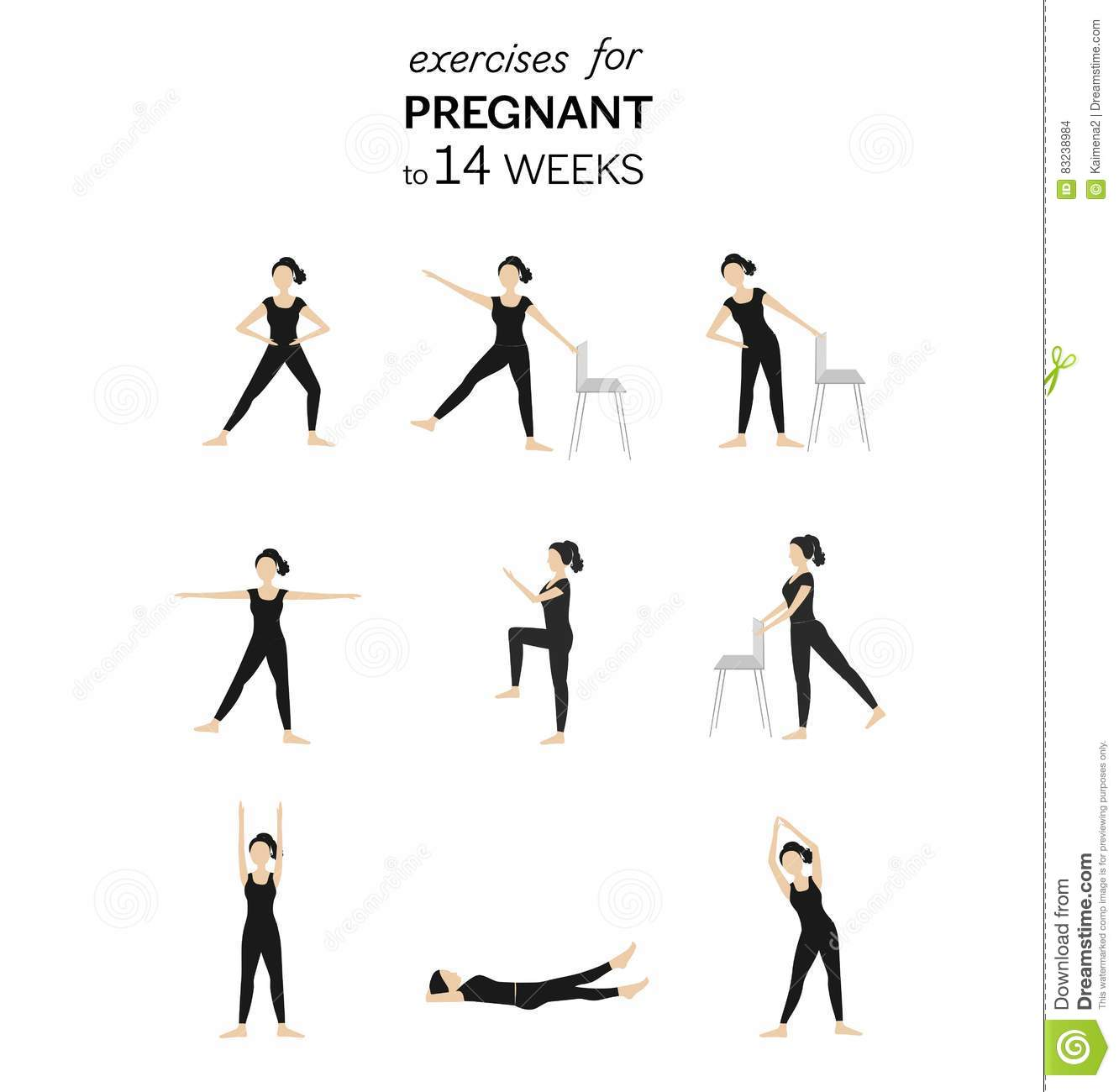 Exercises For Pregnant To 14 Weeks Stock Vector