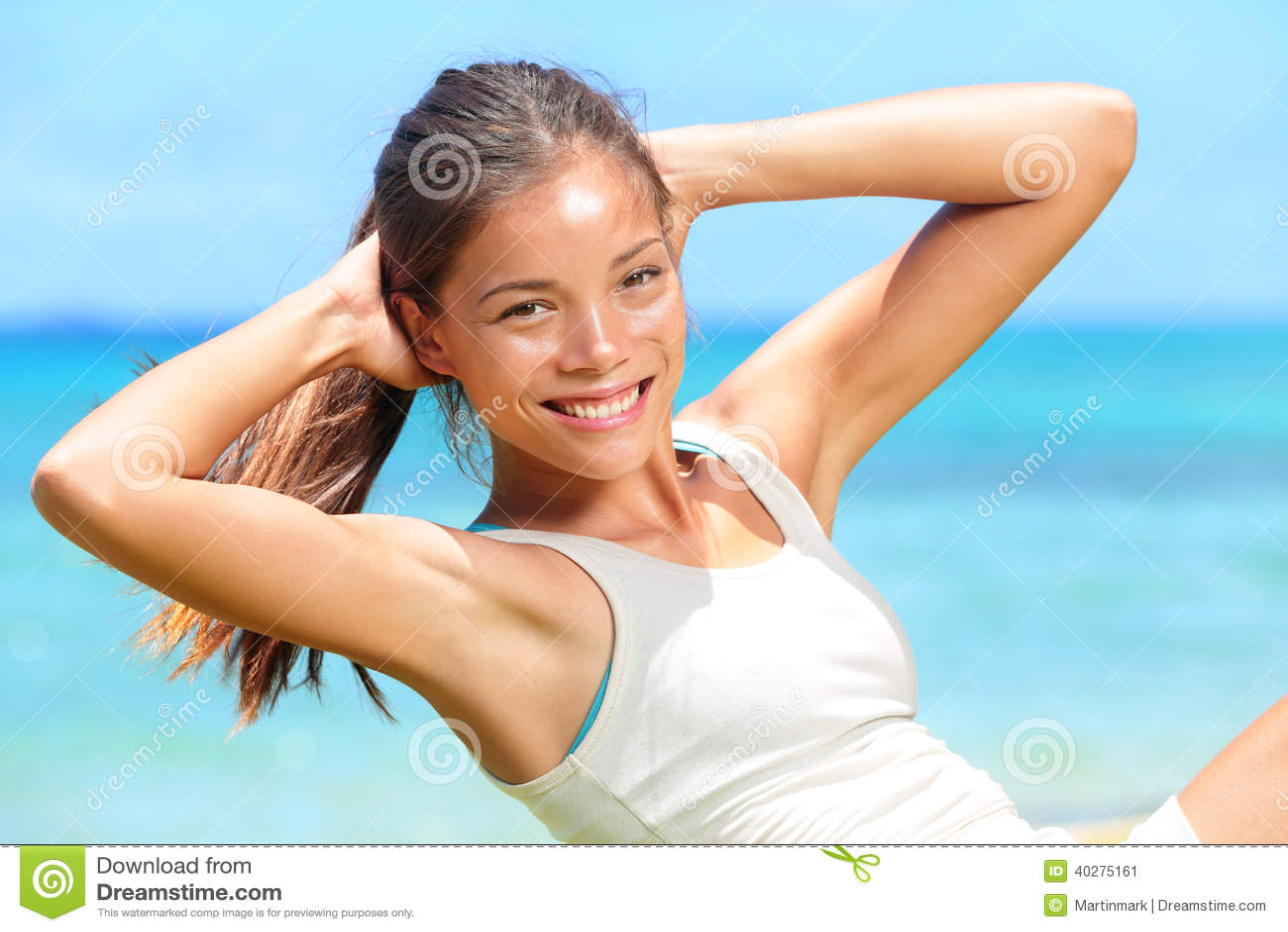 Exercising Fitness Woman Doing Sit Ups Outside Stock Photo Image 40275161