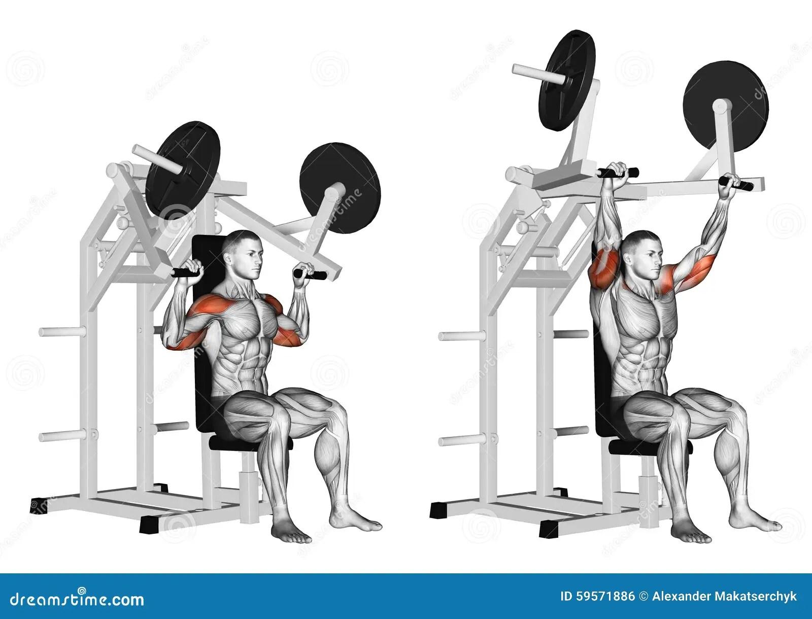Exercising Pull Hammer On Deltoids Stock Illustration
