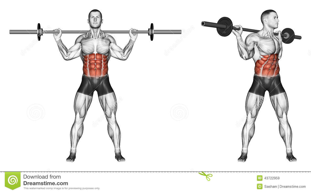 Exercising Turns Torso With Barbell Stock Illustration