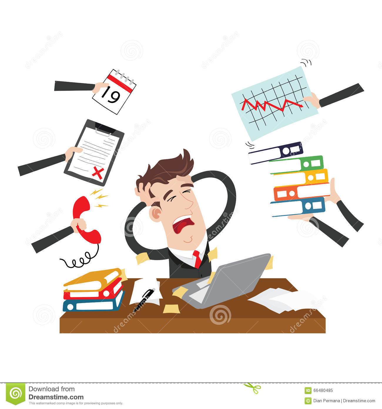 hight resolution of clipart picture of an exhausted and stressed businessman cartoon character