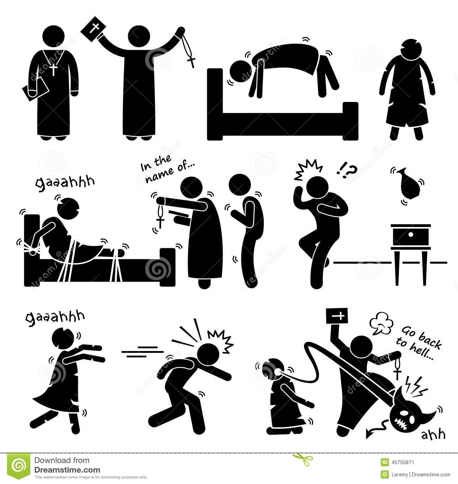 Exorcist Exorcism Evil Demon Spirit Ritual Cliparts Icons