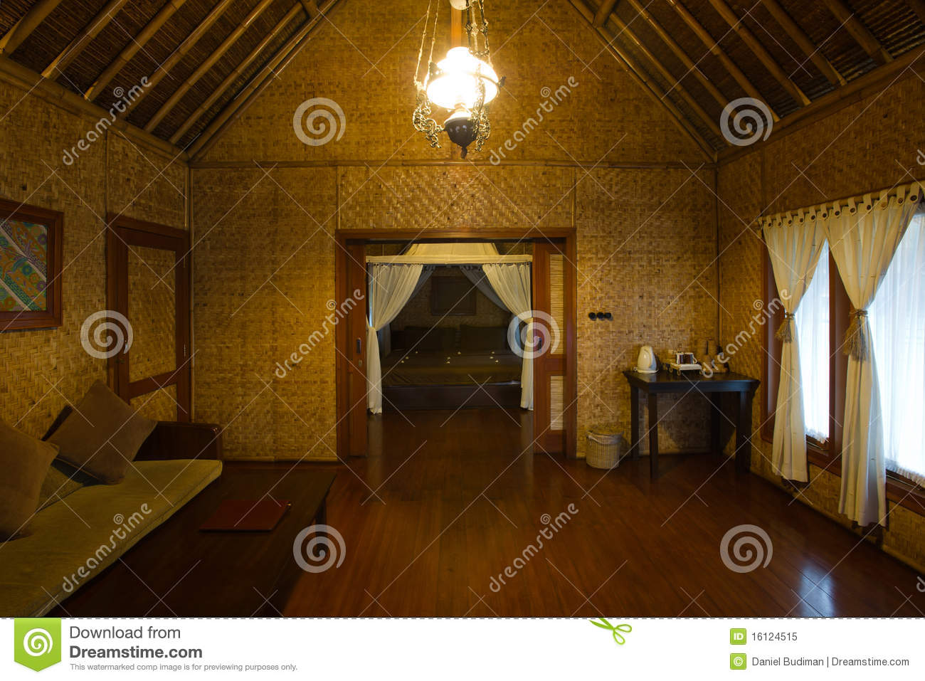 Exotic bamboo hut interior stock image Image of early
