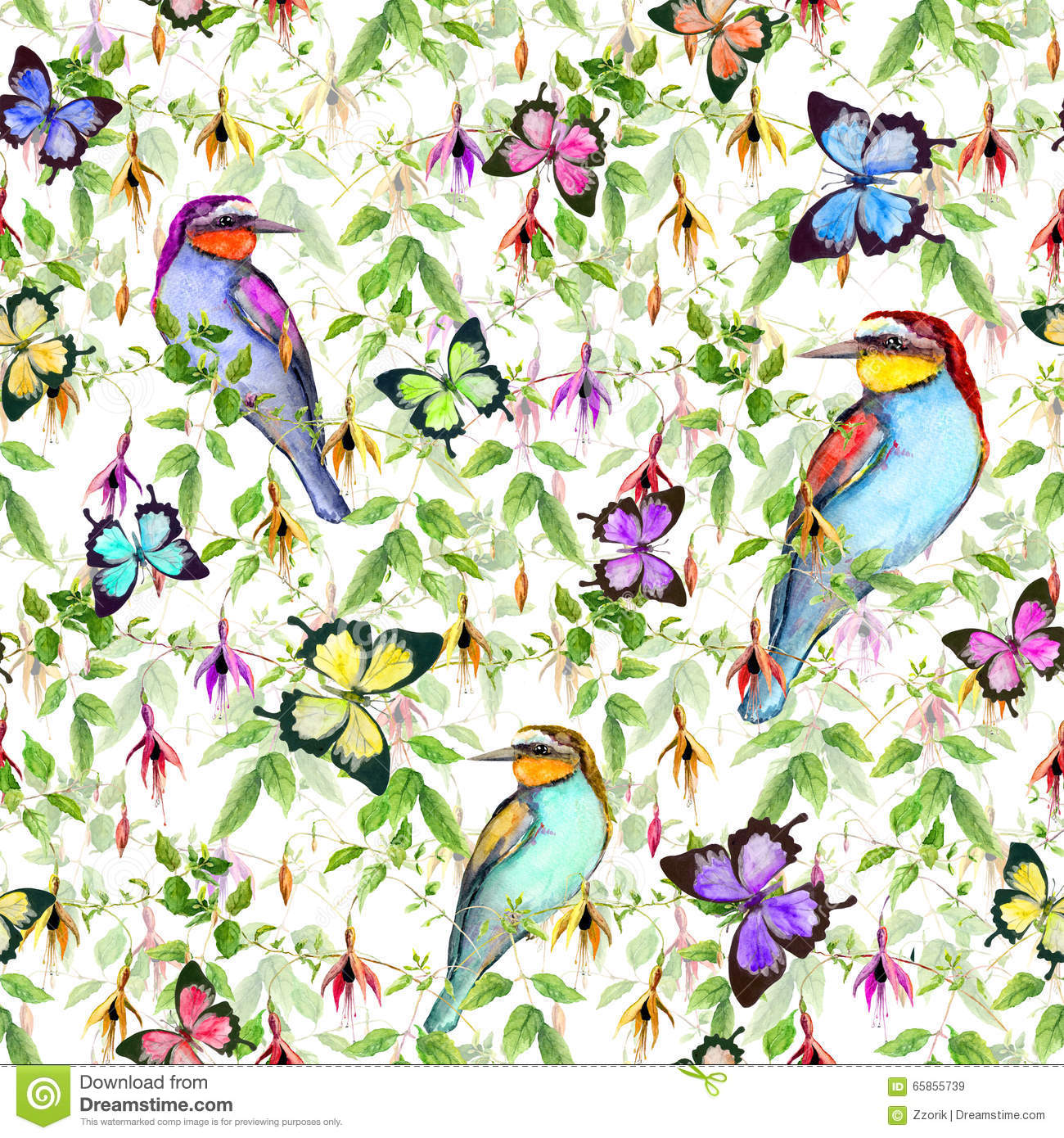 Exotic Animal Wallpaper Exotic Flowers Tropical Butterflies And Birds Seamless