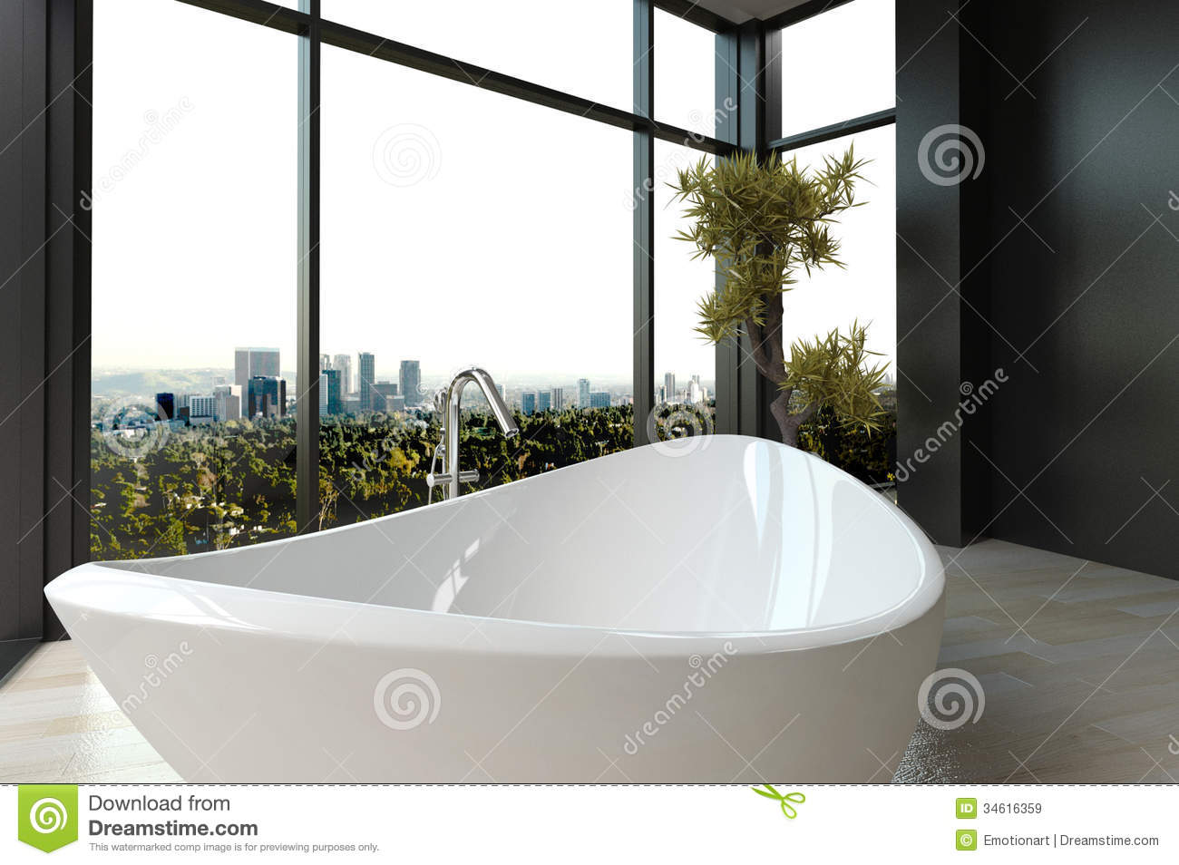 Expensive Luxury Bathtub Against Panoramic Window With