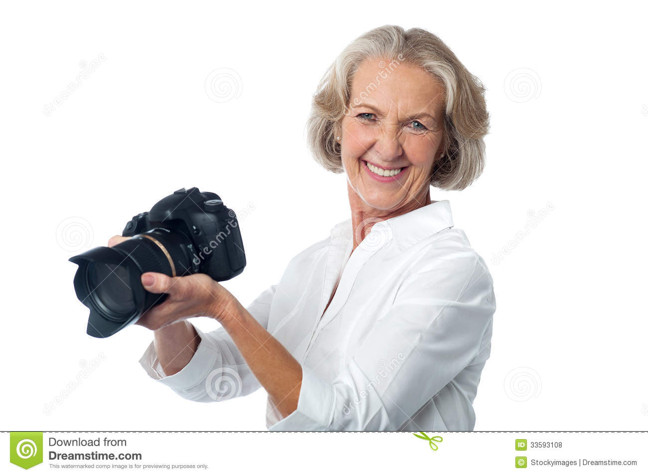 Experienced Female Photographer With Camera Stock Photo