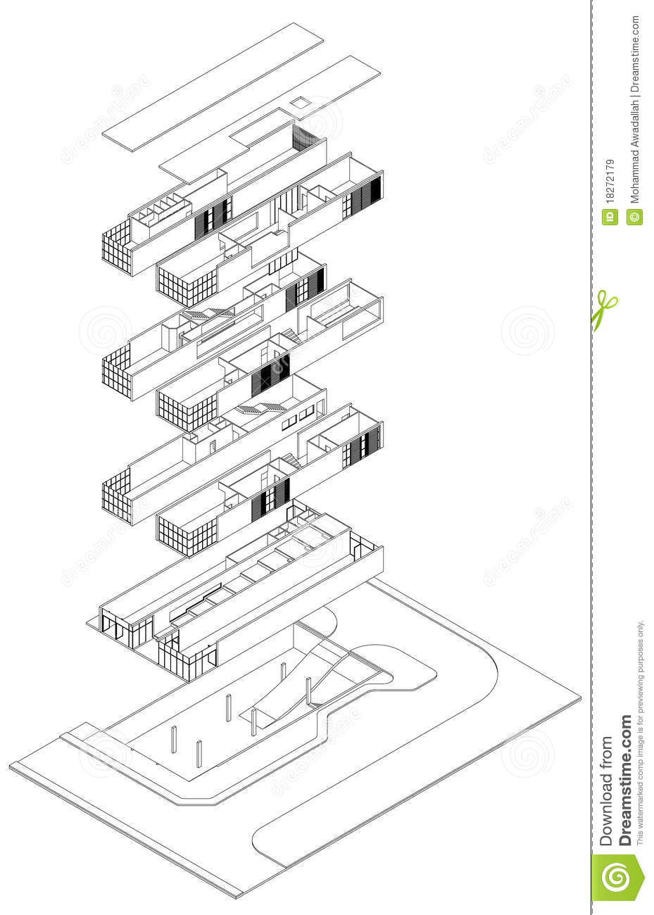 Exploded Isometric Drawing Stock Vector Illustration Of