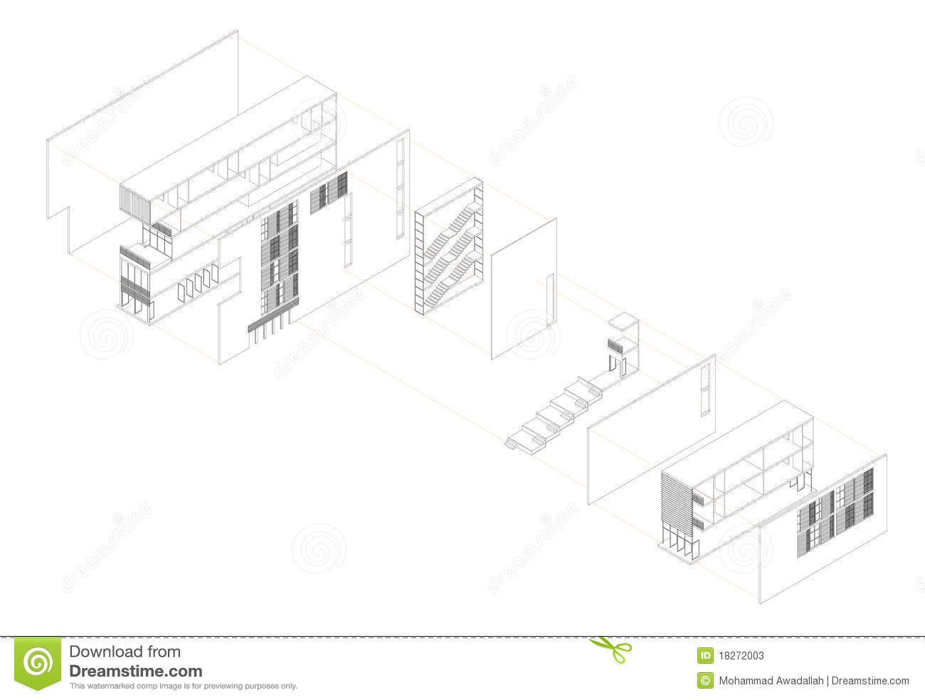 Exploded Isometric Drawing Of A Youth Hostel Stock Vector