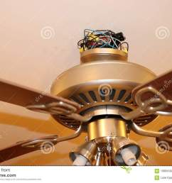 exposed ceiling fan wires closeup fan is hanging from ceiling in picture  [ 1300 x 957 Pixel ]