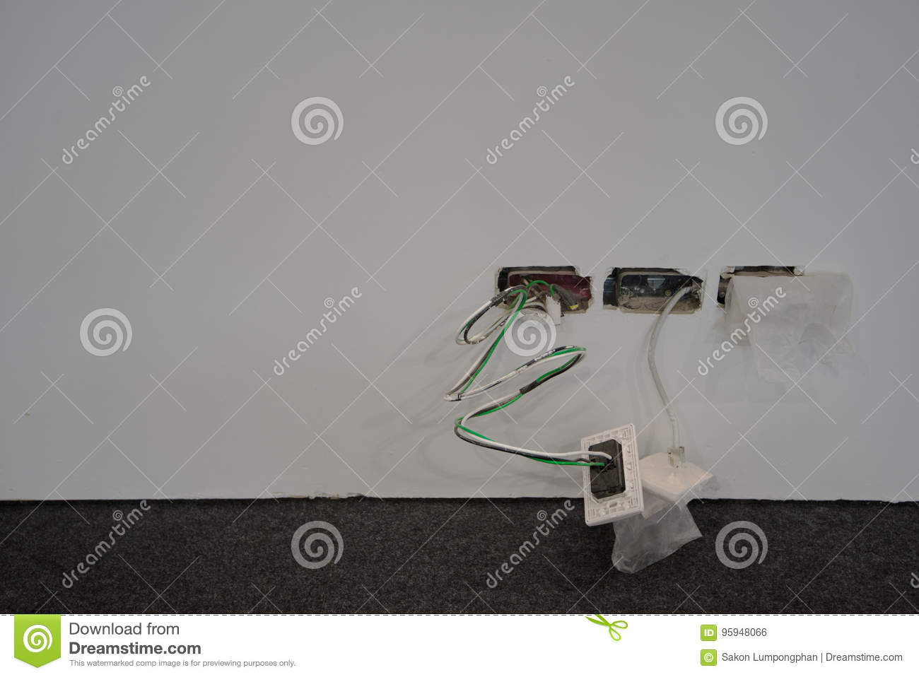 hight resolution of exposed wire in the electrical wiring in the wall