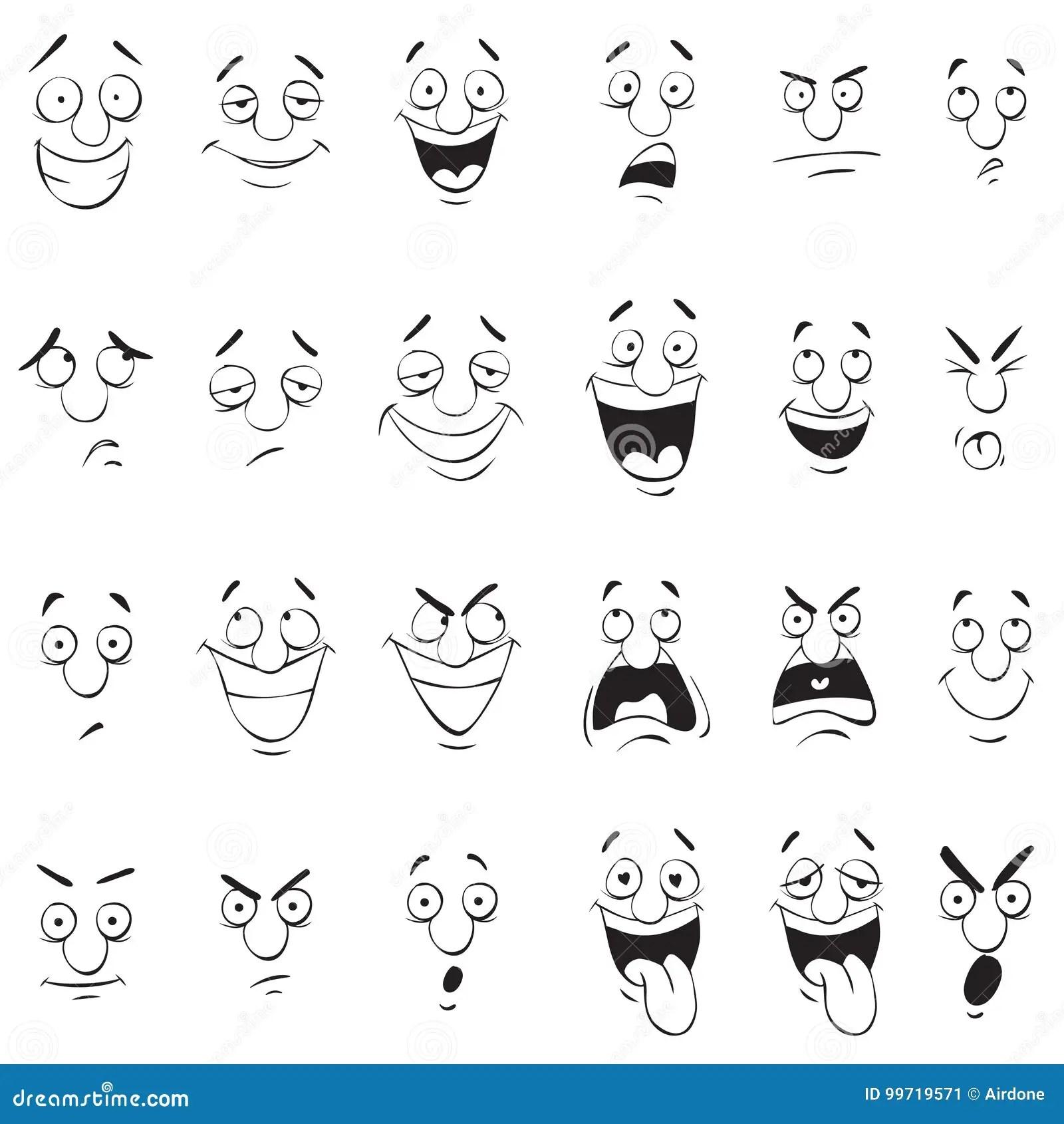 Expresiones De La Cara Garabato De La Historieta Detras Y Esquema Blanco Ilustracion Del Vector