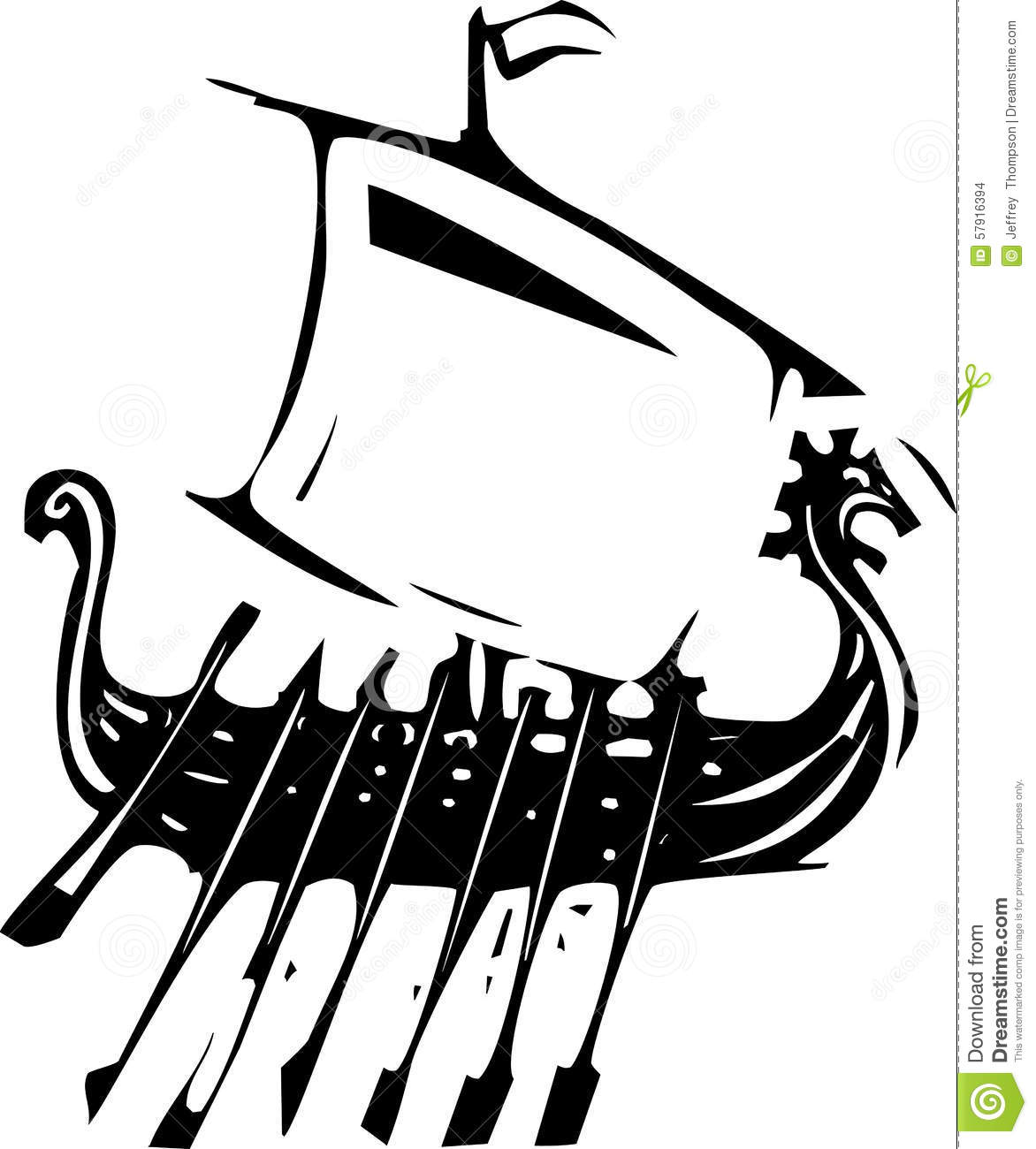 Expressionistic Viking Ship Stock Vector
