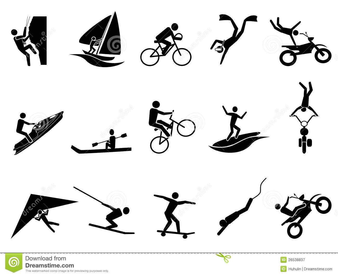hight resolution of extreme sports icon set
