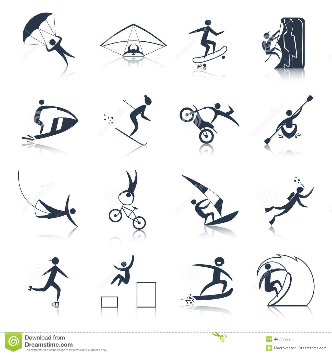 Extreme Sports Icons Black Stock Vector