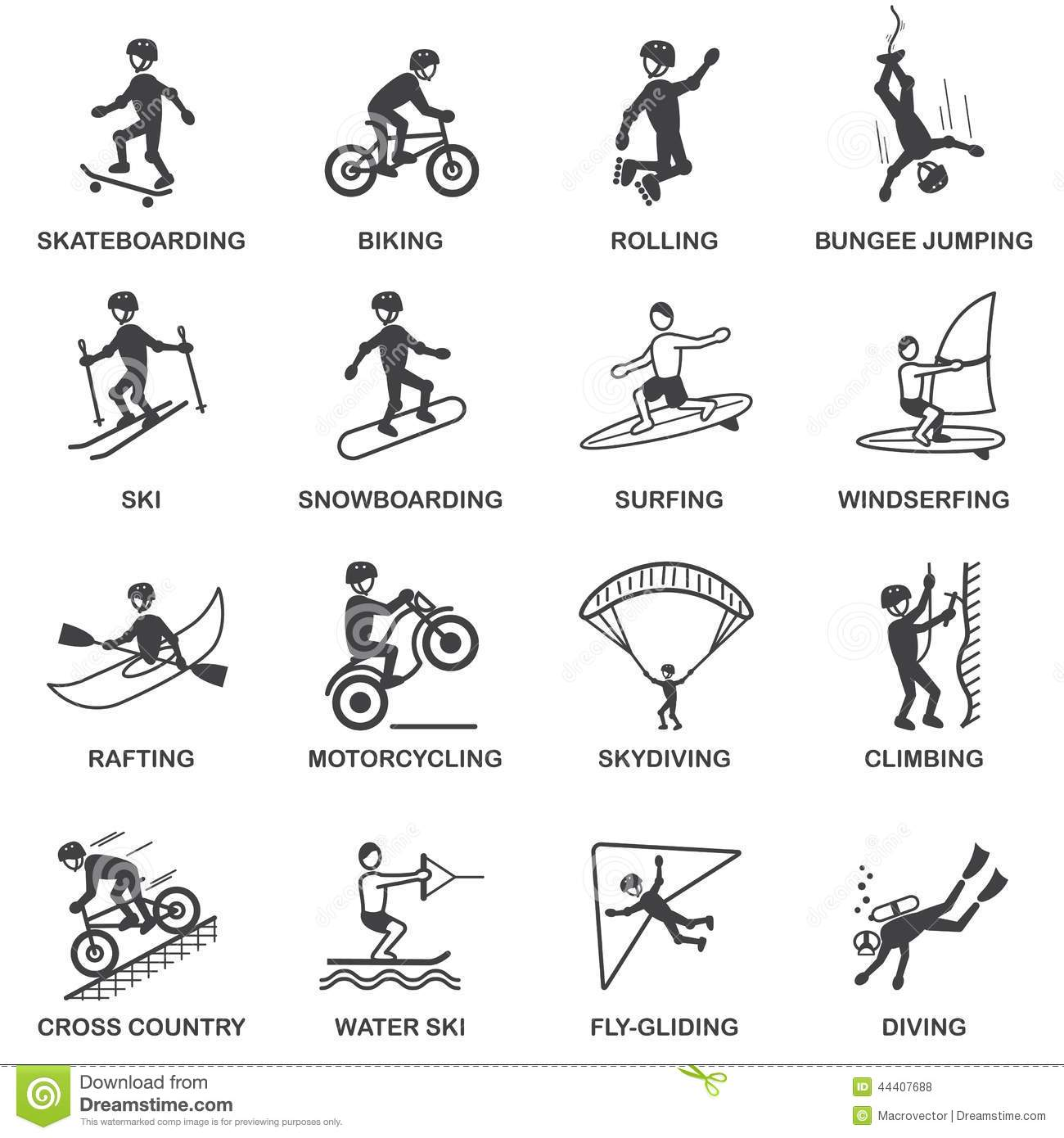 Extreme Sports Icons Set Stock Vector Illustration Of
