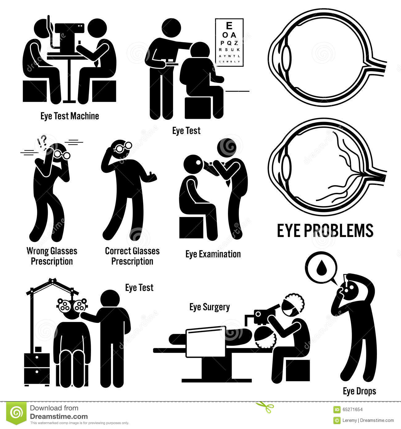 Eye Diagnosis Exam Surgery Optometrist Clipart Stock