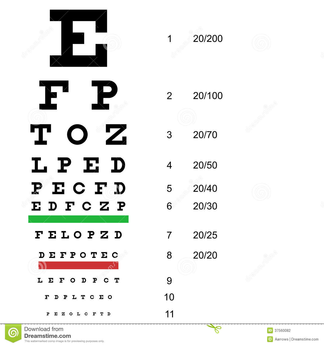 Eye Test Chart Use By Doctors Vector Stock Vector