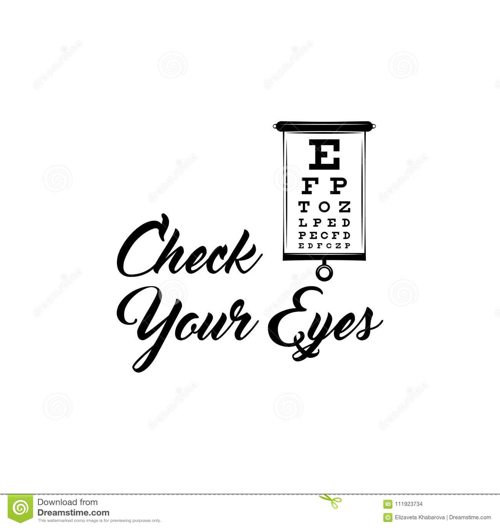 Eye Test Chart. Vision Exam. Optometrist Check. Medical