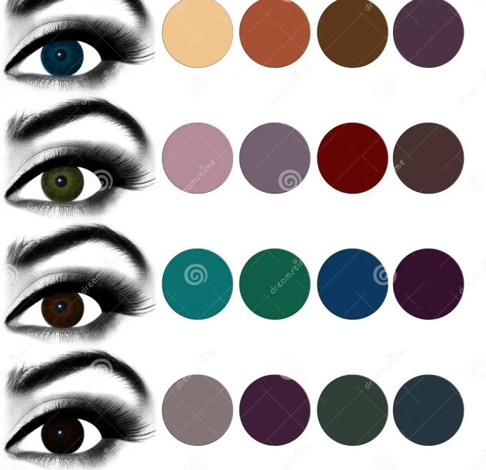 eyes makeup.matching eyeshadow to eye color. stock