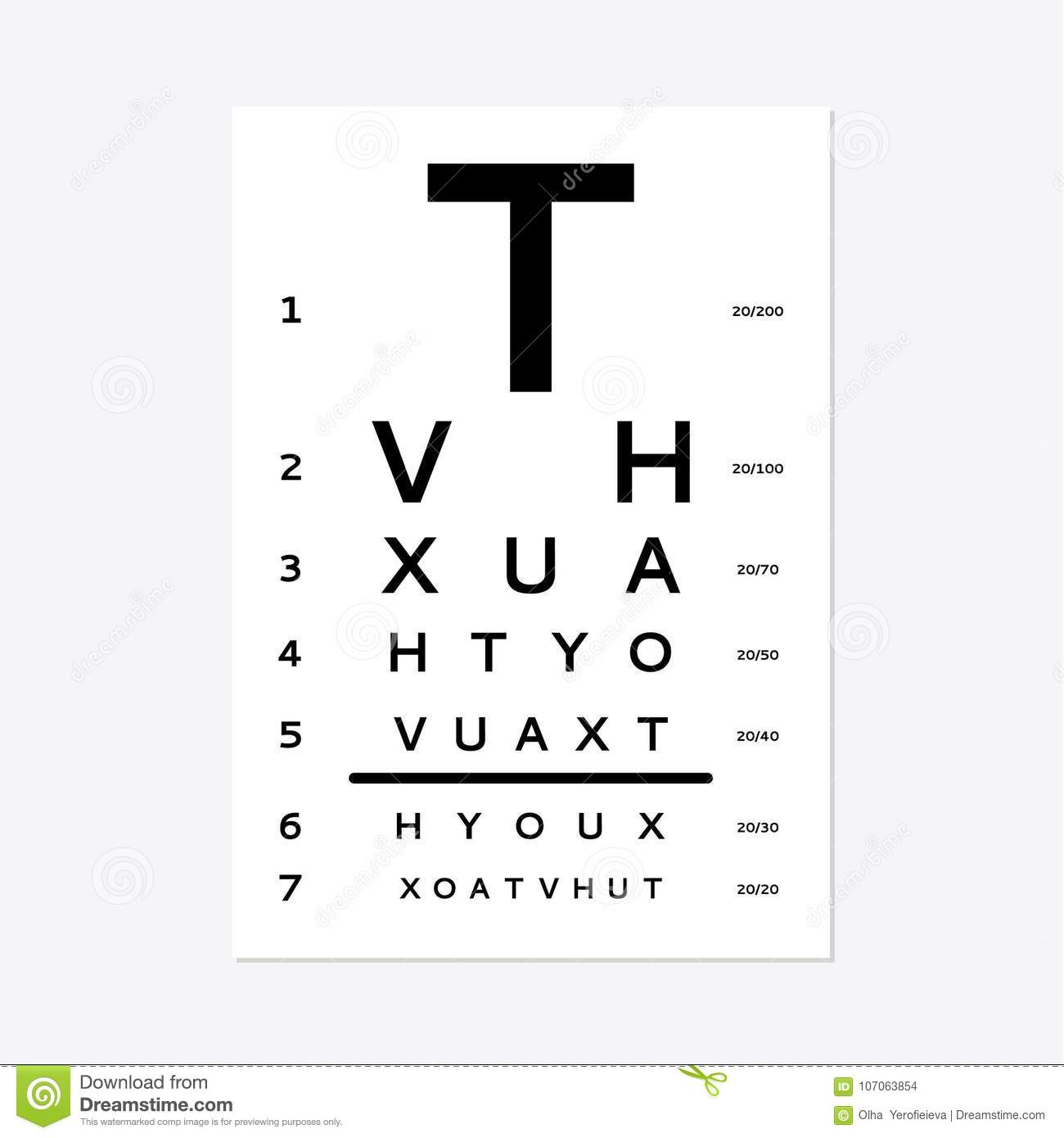 hight resolution of eyes test chart