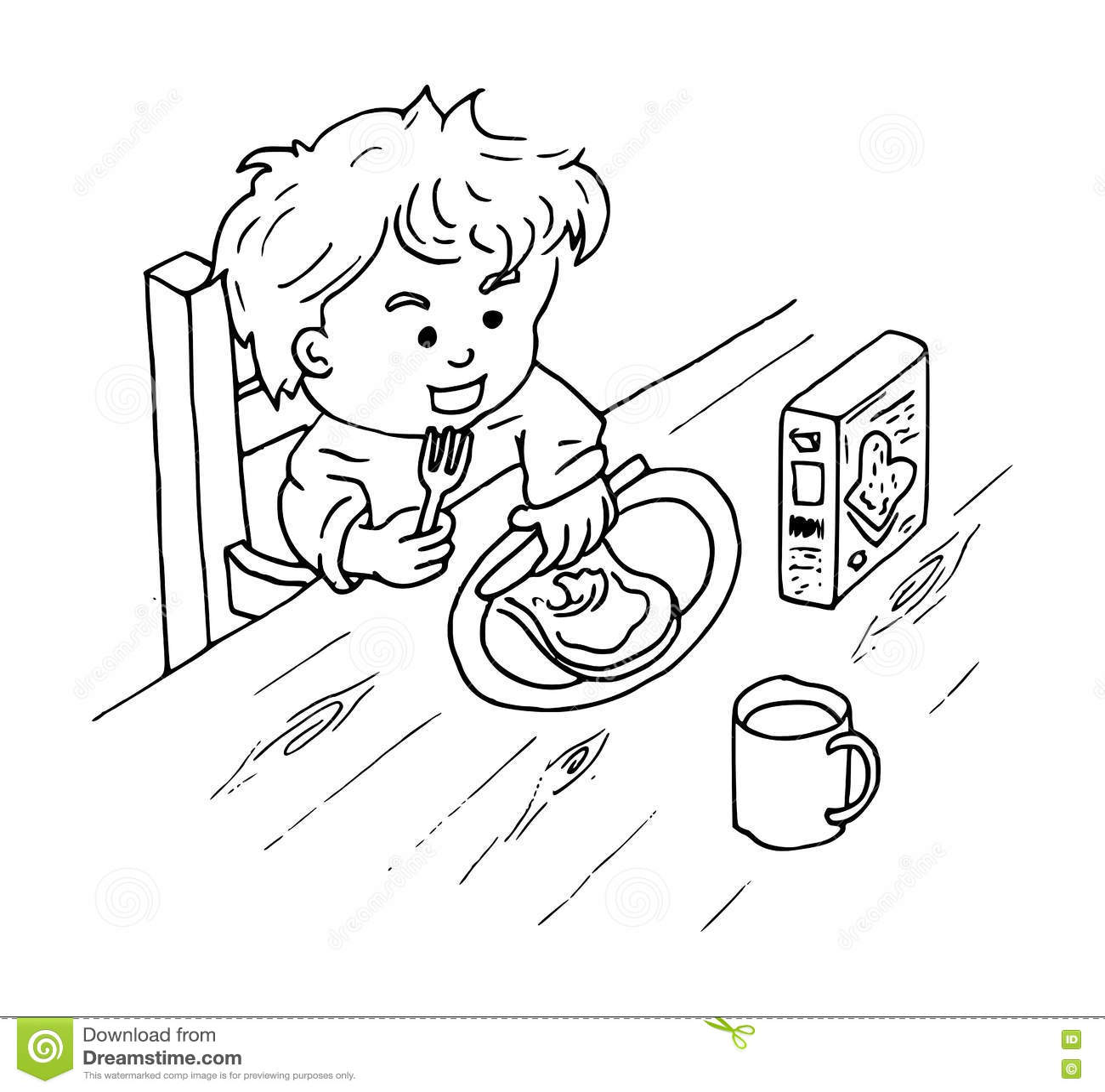 Farglaggning Av En Pojke Som Ater En Smorg S Med