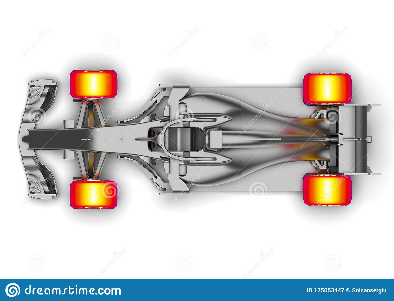 hight resolution of 3d render image representing an f1 car radiography