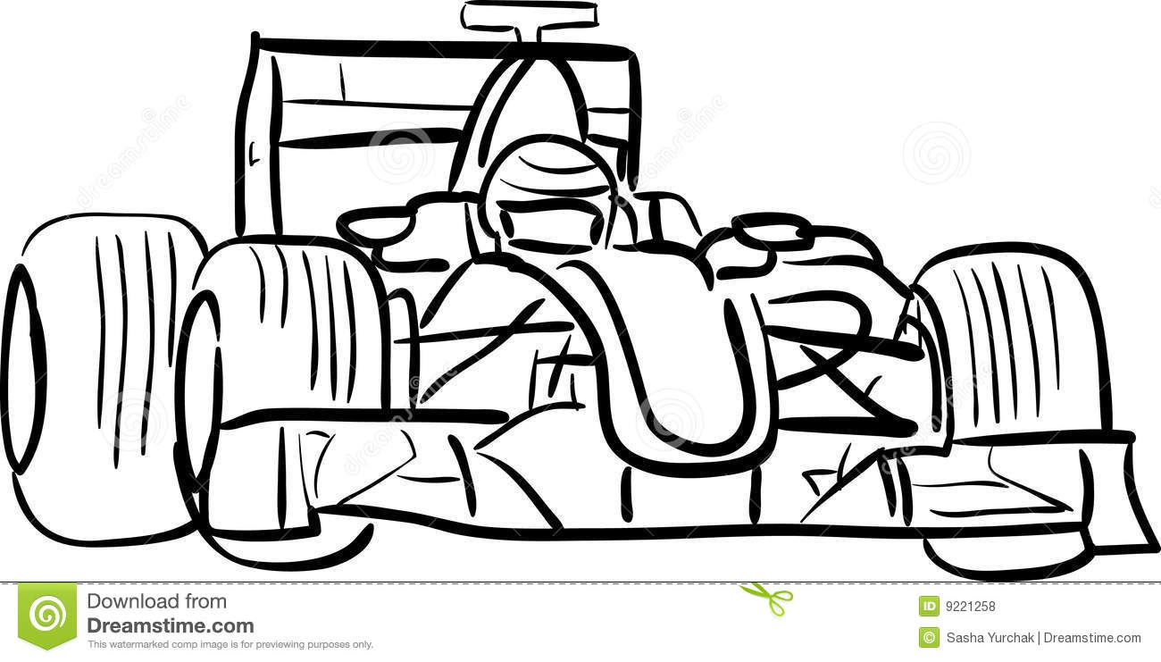 F1 car outlined stock vector. Image of black, line, brush