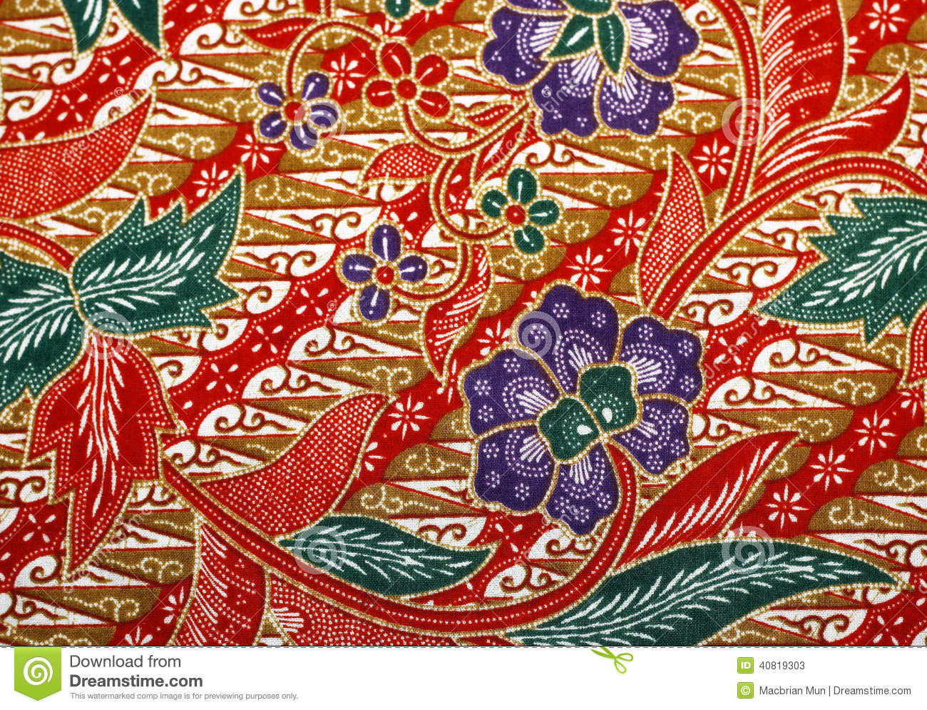 Fabric With Floral Batik Pattern Stock Photo  Image 40819303