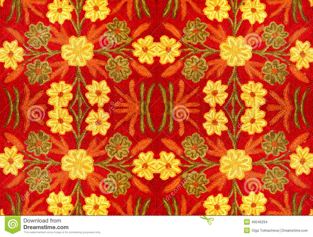 Fabric With A Pattern Of Flowers Embroidery Handmade
