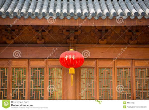 Facade Of Ancient Chinese Temple Stock