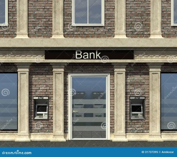 Facade Of Bank Branch Stock Credit