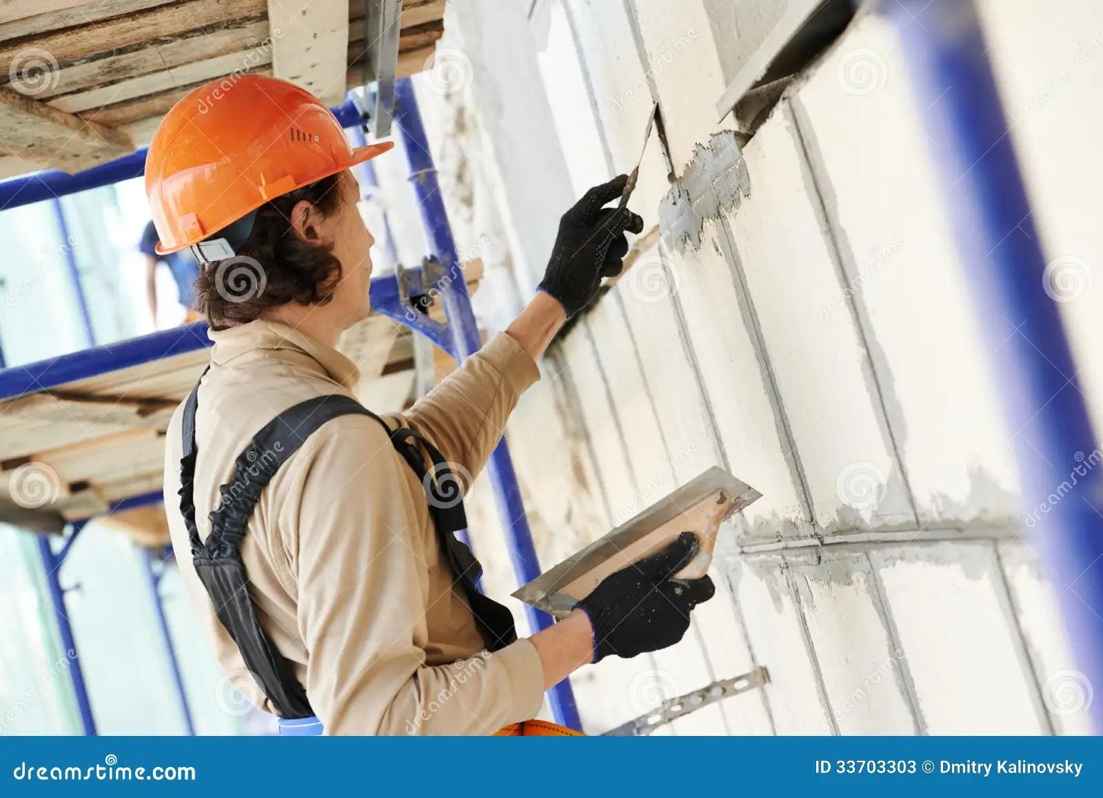 Facade Builder Plasterer At Work Stock Photos  Image 33703303