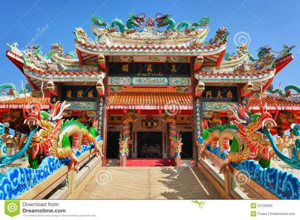 Facade Of Chinese Temple Stock