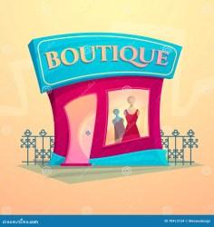illustration vector boutique facade cartoon clothing preview