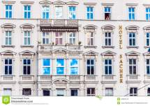 Facade Of Hotel Sacher In Vienna Editorial Stock